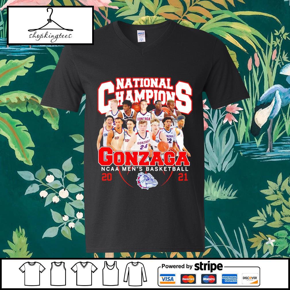 National Champions Gonzaga Bulldogs NCAA men's basketball 2021 guy v-neck t-shirt