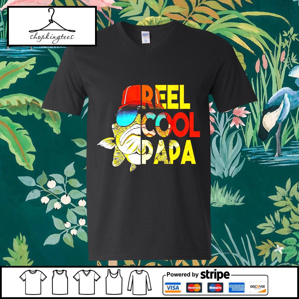 Reel cool papa Father's Day guy v-neck t-shirt